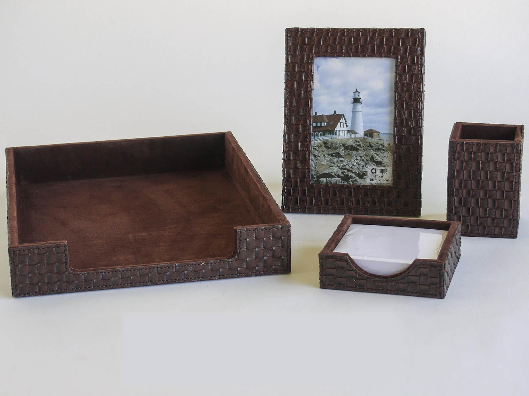 4 piece faux leather desk sets organizer ebay - Leather desk organizer set ...